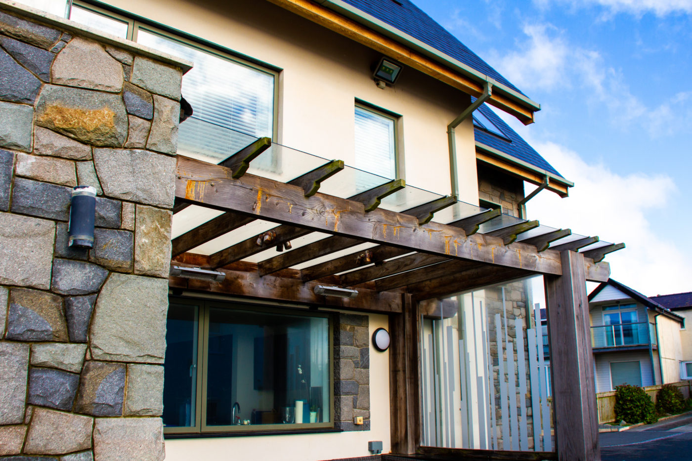 Stone cladding house side shot